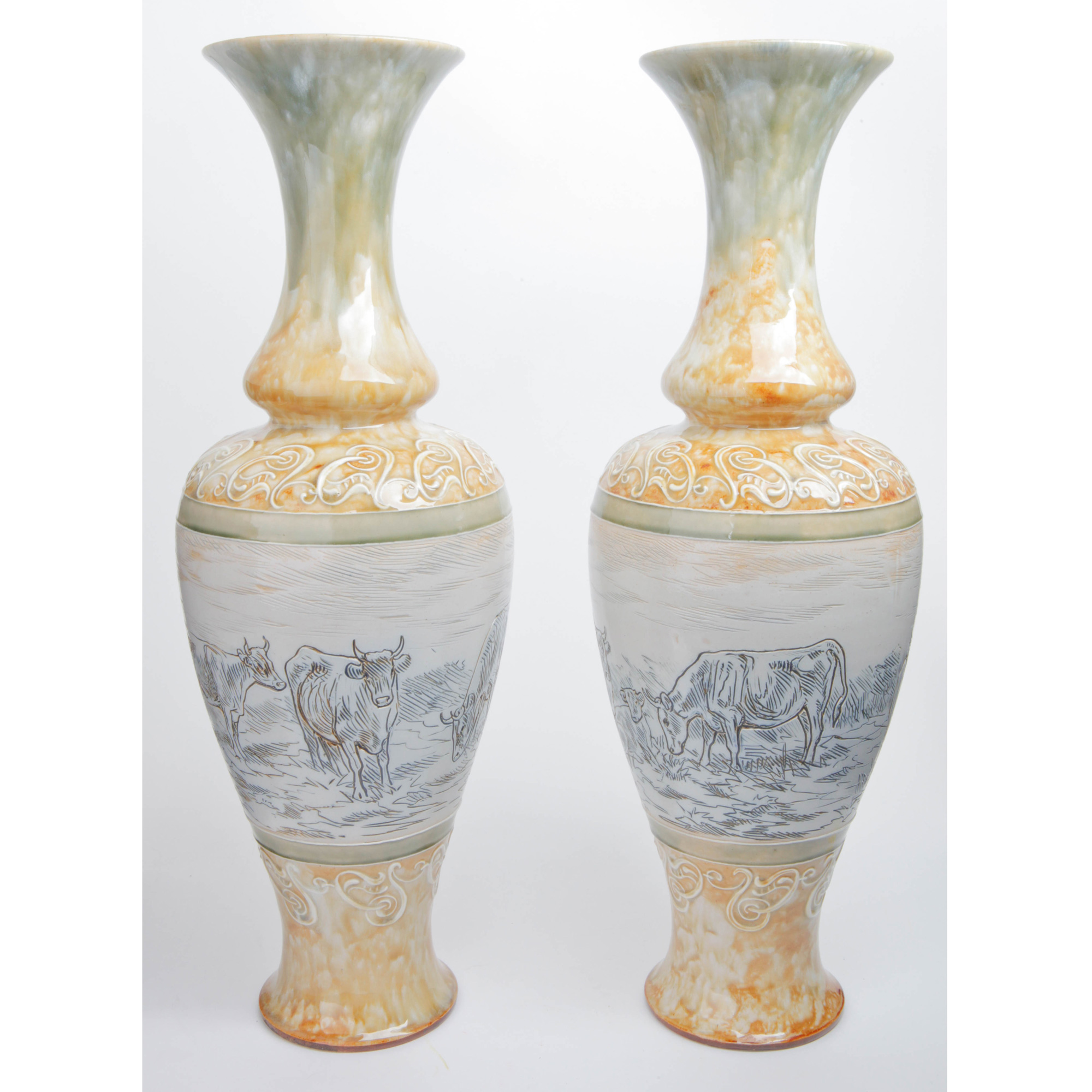 Cattle Vase Pair - Doulton Lambeth