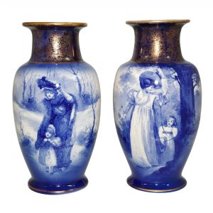 Blue Children Vase PAIR WTCHD - Royal Doulton Seriesware