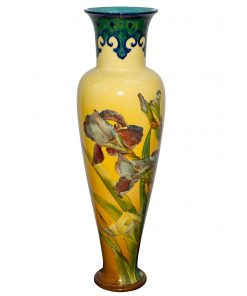 Faience Vase Irises Blue Yello - Doulton Lambeth Stoneware