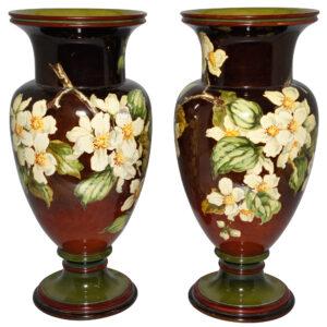 Faience Vase Pair BG Thatcher - Doulton Lambeth Stoneware