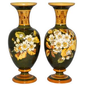 Faience Vase Pair GRN YLLW - Doulton Lambeth Stoneware