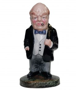 Bairstow Manor Winston Churchill Figure in blue with Bulldog