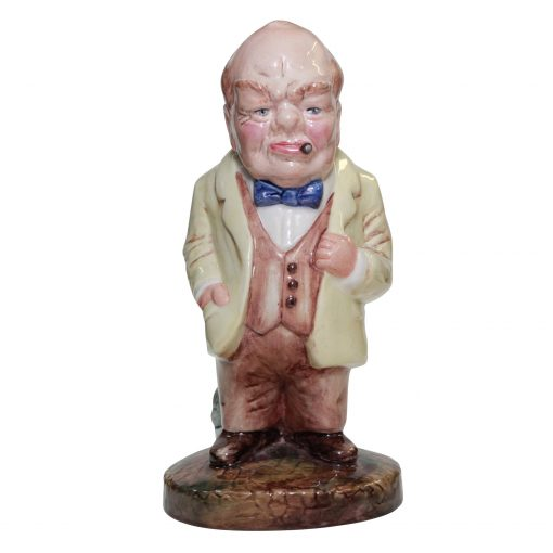 Bairstow Manor Winston Churchill Figure in cream with Bulldog