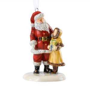 Santa & Girl Ornament HN5862 - Royal Doulton Figurine