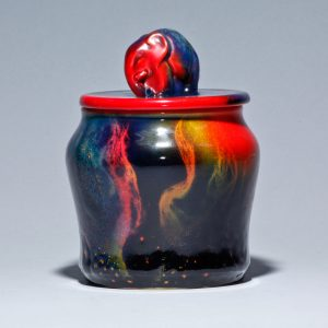 Sung Flambe Tobacco Jar with Elephant Finial - Royal Doulton