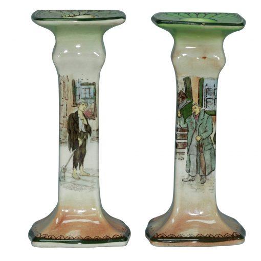 Dickens Candlesticks Pair MSPJ - Royal Doulton Seriesware