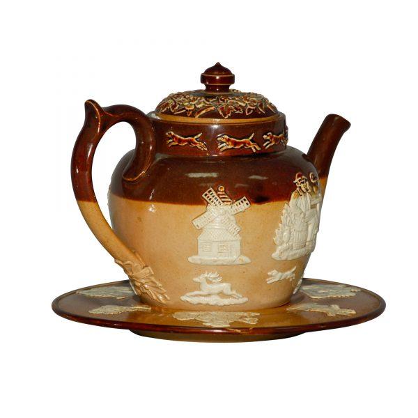 Hunting - 2pc. Teapot and Trivet Set - Doulton Lambeth Stoneware