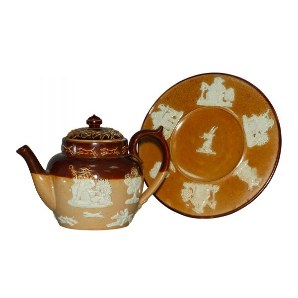 Hunting - 2pc. Teapot and Trivet Set - Doulton Lambeth Stoneware