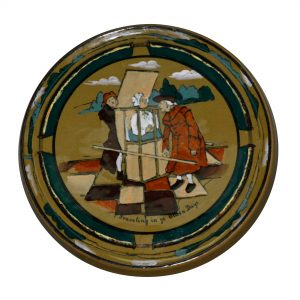 "Travel Tile ""Traveling in ye Olden Days"" - Buffalo Pottery Deldare Ware"