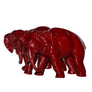 Bernard Moore Two Elephant - Royal Doulton Flambe