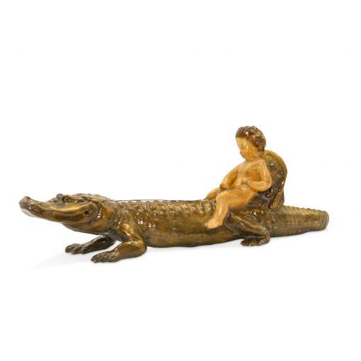 Boy on a Crocodile (HN 373) - Royal Doulton Figurine