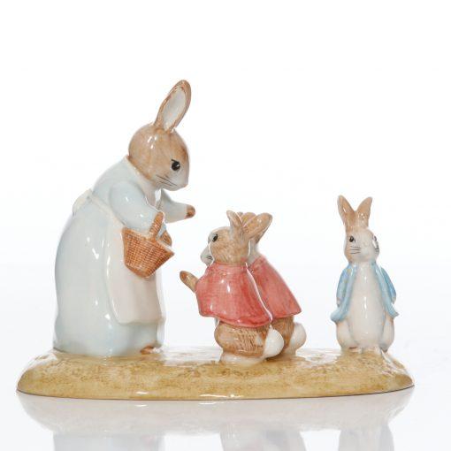 Mrs. Rabbit & Four Bunnies - Beatrix Potter Tableau