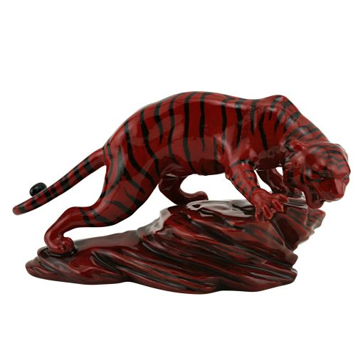 Tiger on Rock BA71 - Royal Doulton Flambe