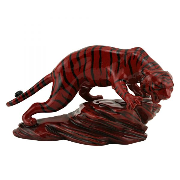 Tiger on Rock BA71 - Royal Doulton Flambe