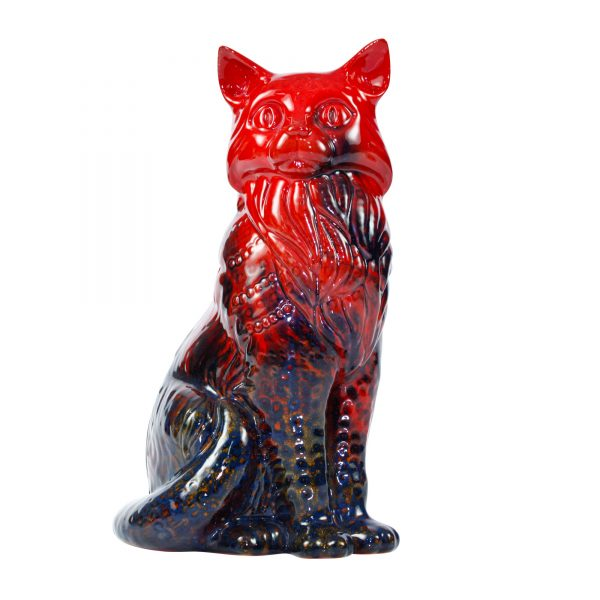 Cat Seated Veined - Royal Doulton Flambe