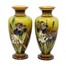 Faience Iris Vase Pair - Royal Doulton Stoneware Faience