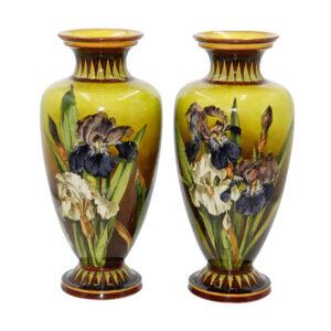 Faience Iris Vase Pair - Royal Doulton Stoneware Faience