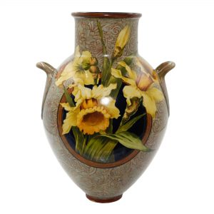 Faience Vase Daffodils - Royal Doulton Titanianware