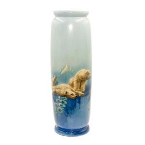 Titanian Vase Polar Bears - Royal Doulton Titanianware