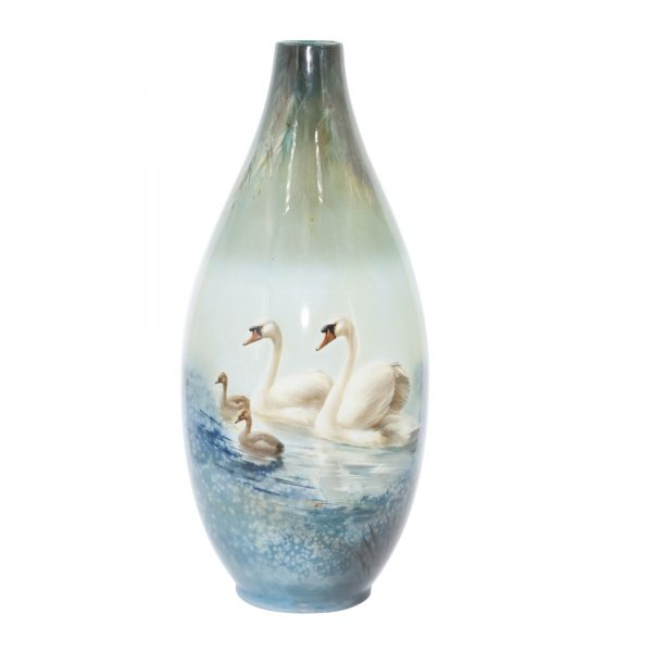 Titanian Vase with Swans - Royal Doulton Titanianware