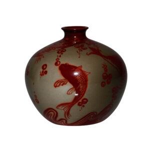 Bernard Moore Vase Fish Koi 5H - Royal Doulton Flambe