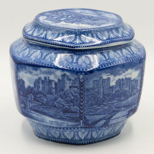 Blue Biscuit Barrel and Lid