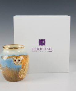 Elliot Hall Enamel Vase Barn Owls