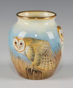Elliot Hall Enamel Vase Barn Owls