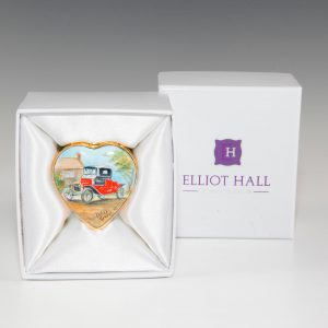 Elliot Hall Enamel Heart Box Model T Ford Automobiles