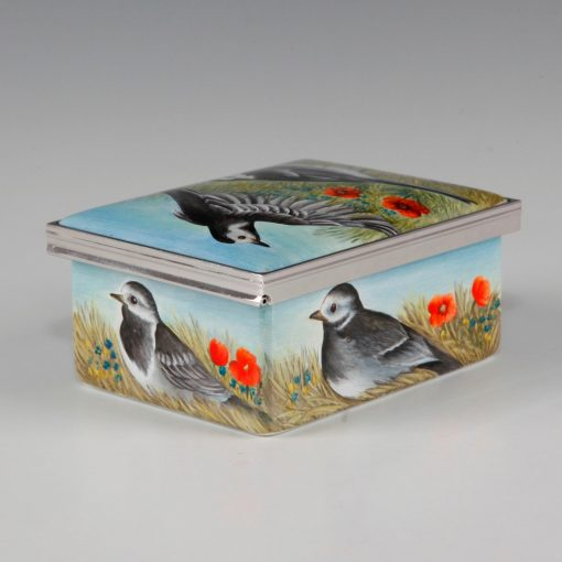 Elliott Hall Enamel Box Pied Wagtail Bird