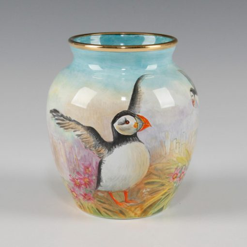 Elliot Hall Enamel Vase Puffins
