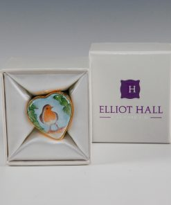 Elliot Hall Enamel Heart Box Robin Bird