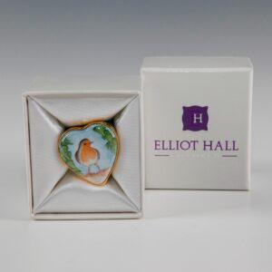 Elliot Hall Enamel Heart Box Robin Bird